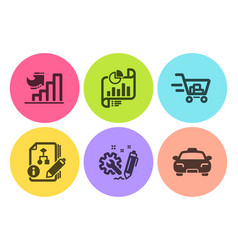 Report document shopping cart and algorithm icons vector