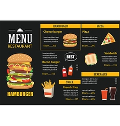 restaurant cafe menu graphic template flat design vector image