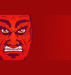 retro angry man portrait in comics style vector image