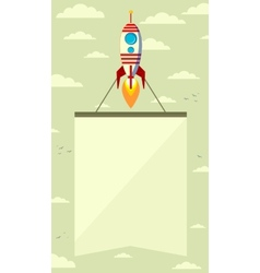 Rocket with a banner in the sky vector image