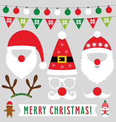 santa hats beards mustache and deer horns vector image