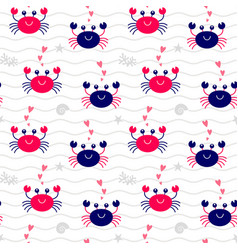 seamless pattern crab vector image