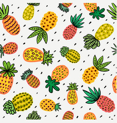 Seamless sunny pineapple pattern decorative vector