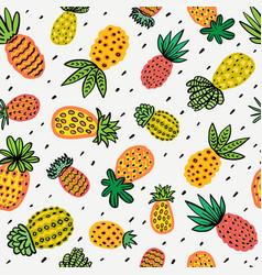 Seamless sunny pineapple pattern decorative vector