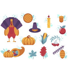 set flat thanksgiving symbols isolated vector image