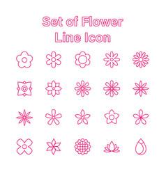 set flower line icon editable stroke vector image