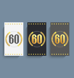 Set of 60th anniversary cards template vector