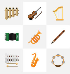 Set of 9 editable sound flat icons includes vector