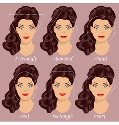 Set of different woman face shapes 2 vector