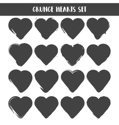 Set of hearts grunge stamps collection love vector
