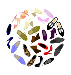 shoes in shape circle vector image
