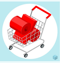 shopping cart loaded of percent sign vector image