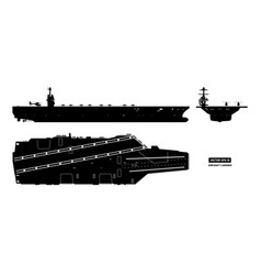 silhouette aircraft carrier military ship vector image