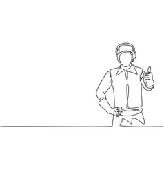 Single one line drawing welder with a thumb-up vector