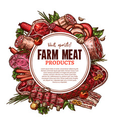 Sketch farm fresh meat butchery poster vector