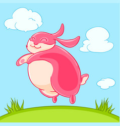 Smiling funny pink bunny jumped out of the grass vector