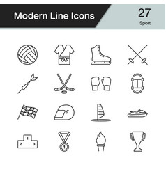 sport icons modern line design set 27 vector image