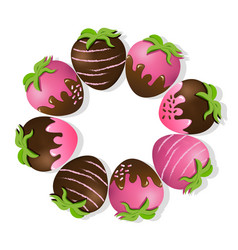 Strawberries delicious chocolate dipped top view vector