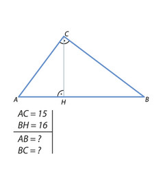 The task of finding the hypotenuse and the second vector