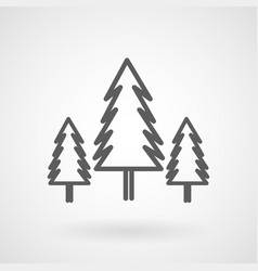 three conifer pine trees in a forest line art icon vector image