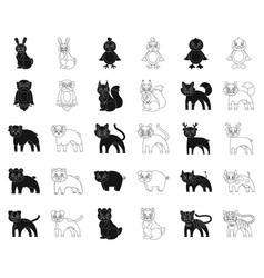 Toy animals blackoutline icons in set collection vector