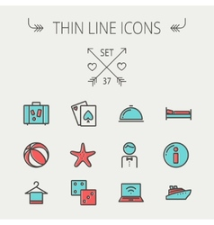 Travel thin line icon set vector