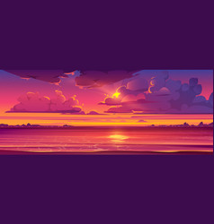 tropical landscape with sunset and ocean vector image