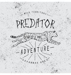 Vintage trademark with cheetah vector image