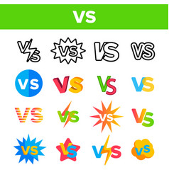 Vs abbreviation versus color icons set vector
