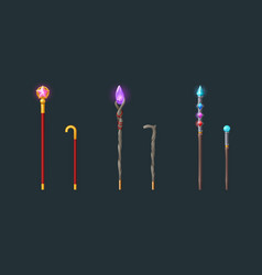 Walking sticks and magic staves for wizard vector