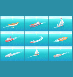 water transport travel means boats set vector image