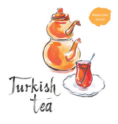 Watercolor turkish tea with turkish kettle vector