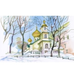 Watercolor winter landscape with church vector