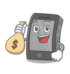 With money bag ipad in a mascot bag vector