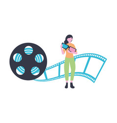 Woman with 3d glasses and reel production movie vector
