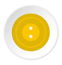 Yellow sewing button icon circle vector