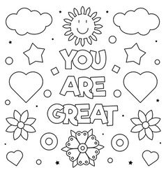 you are great coloring page vector image