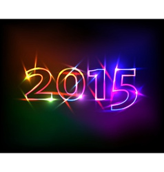 2015 year with colored neon lights effect vector image