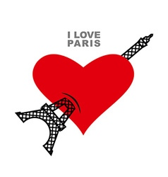 I love Paris Red heart symbol of love and Eiffel vector image
