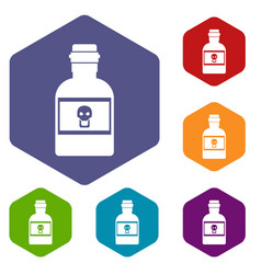 poison bottle icons set vector image