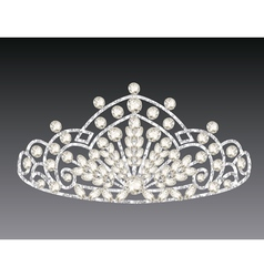 tiara crown womens wedding on a grey background vector image vector image