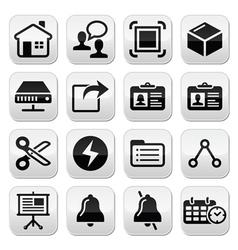 Web internet black buttons set vector image vector image