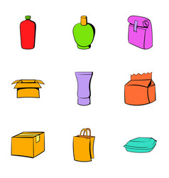 cardboard icons set cartoon style vector image vector image