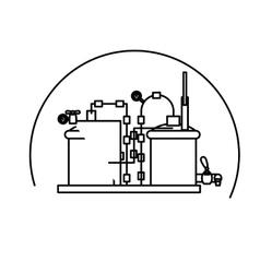 Contour beer tanks icon image design vector