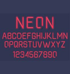 Neon light alphabet vector