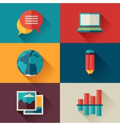 Set of blog icons in flat design style vector image vector image