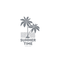 black and white logo template with two palm trees vector image