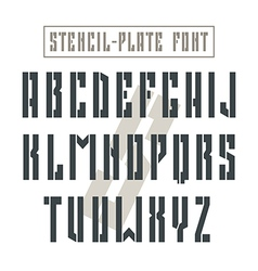 Bold stencil plate sans serif font military vector