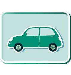 button with green retro car vector image