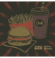 Grunge fast food poster with cheeseburger vector image